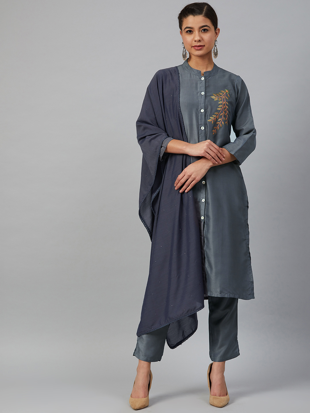 Jompers | Jompers® Women Grey Cotton Silk Embroidered Kurta with pants and dupatta  set