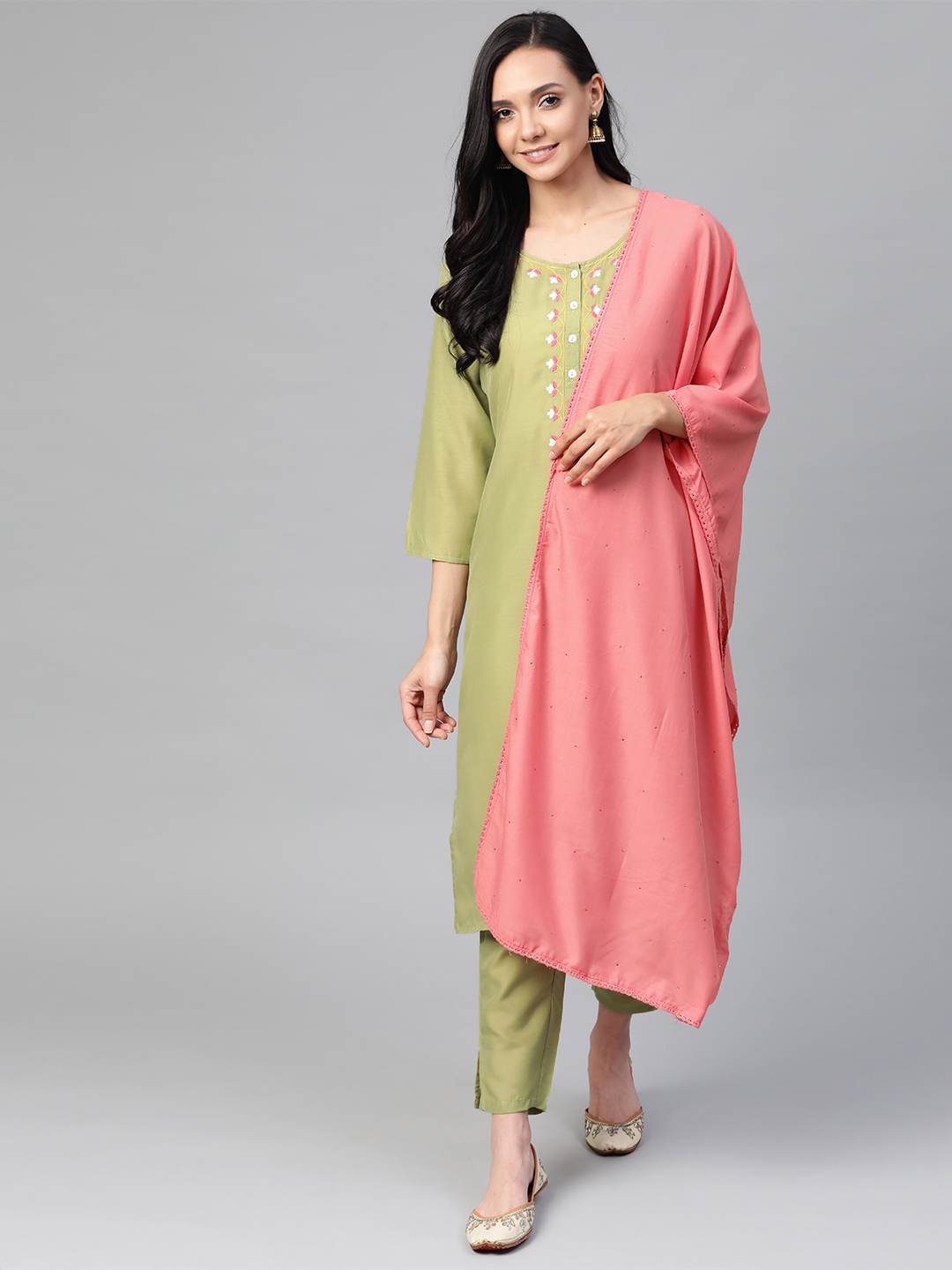 Jompers   Jompers® Women Green Cotton Silk Embroidered Kurta with pants and dupatta  set