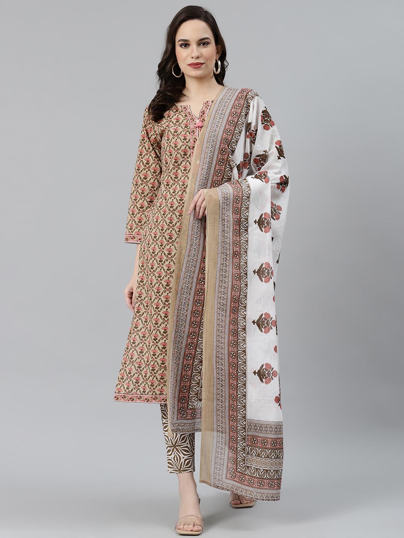 Jompers | Jompers® Women Beige & Pink Block Print Pure Cotton Kurta with Trousers & Dupatta