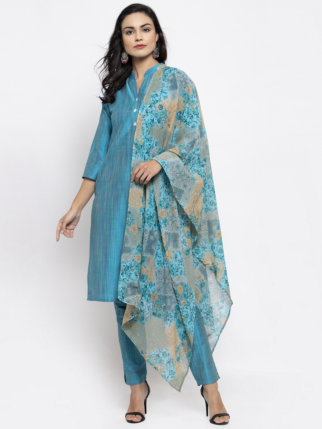 Jompers | Jompers Women Blue Solid Kurta with Trousers & Printed Dupatta
