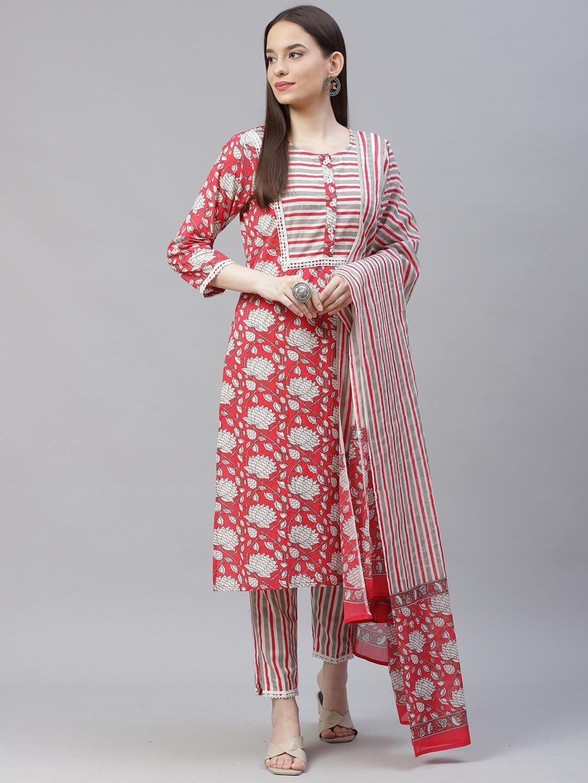 Jompers | Printed Kurta with lace work, printed Pants & Dupatta Set