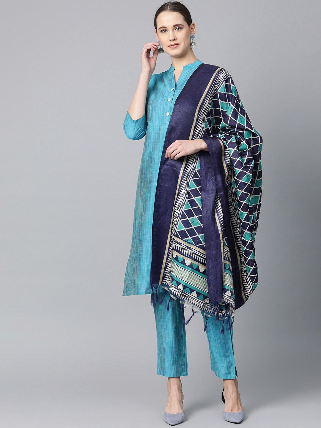 Jompers   Jompers® Women Blue Kurta with Pants and Printed Dupatta