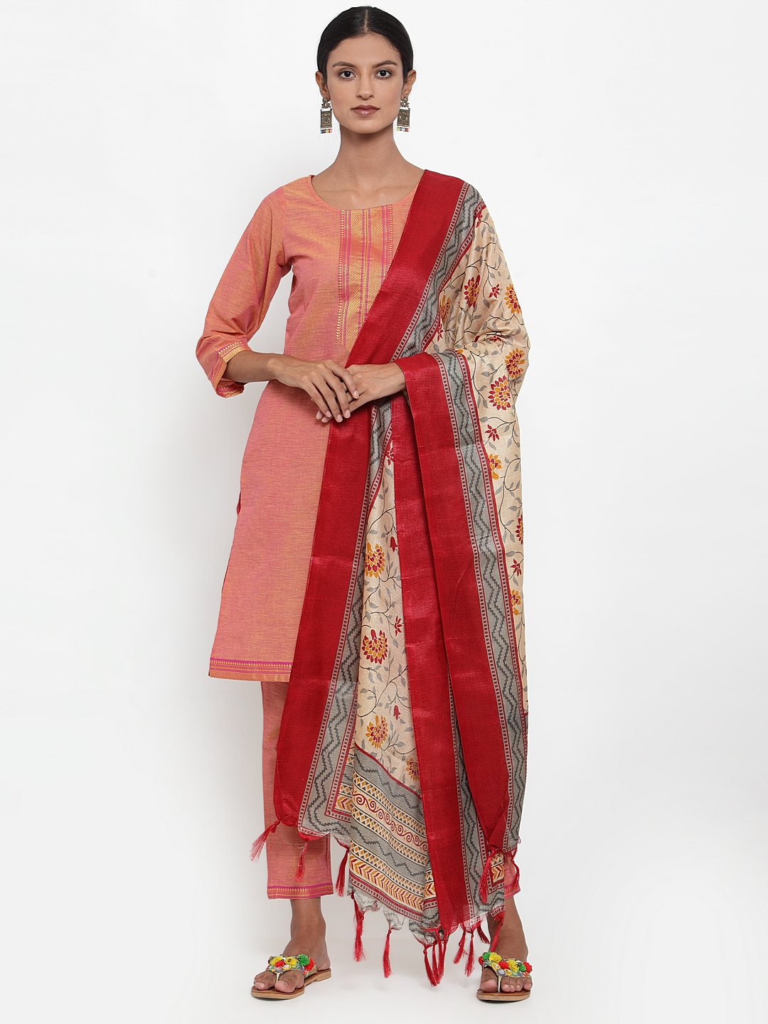 Jompers | Jompers® Women Pink Pure Cotton Kurta with pants and printed dupatta set