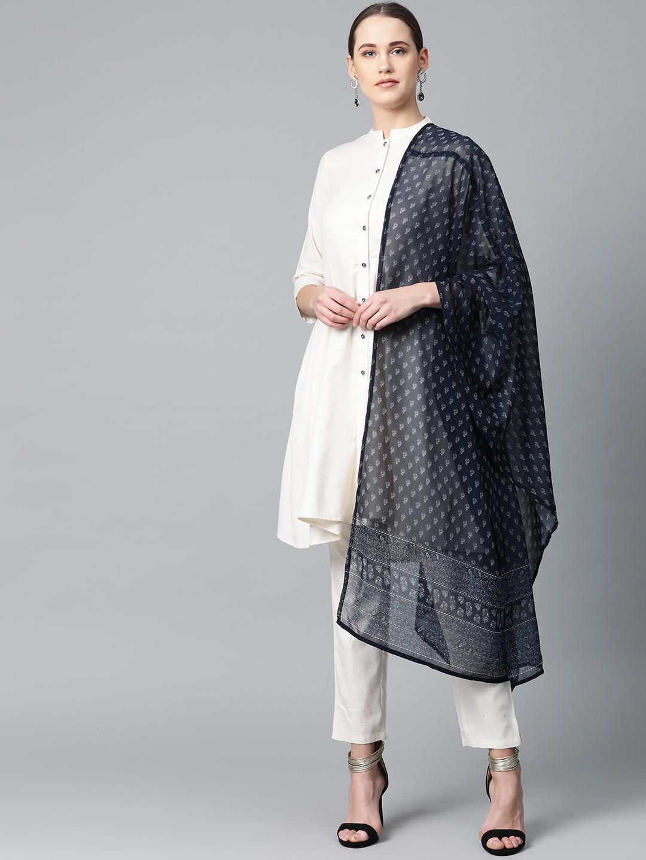 Jompers   Jompers® Women Off-White Solid Kurta with Trousers & blue ikkat print Dupatta