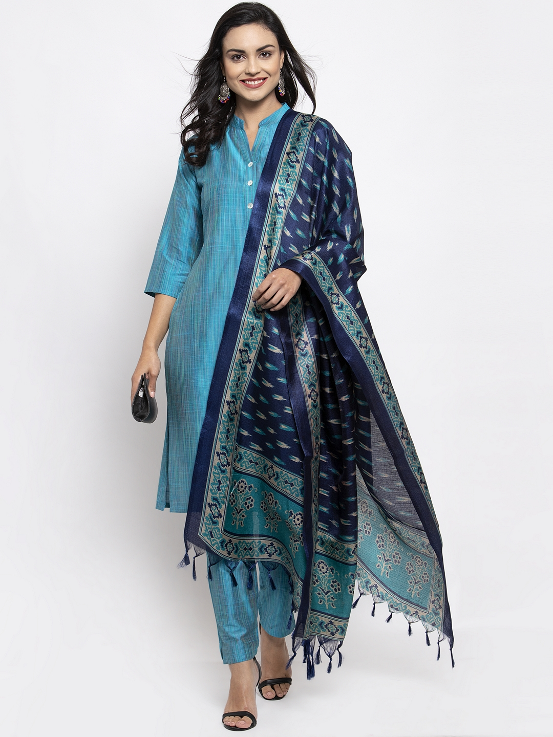 Jompers | Jompers® Women Blue Kurta with Pants and Printed Dupatta