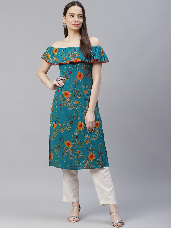 Jompers | Off shoulder floral print kurta
