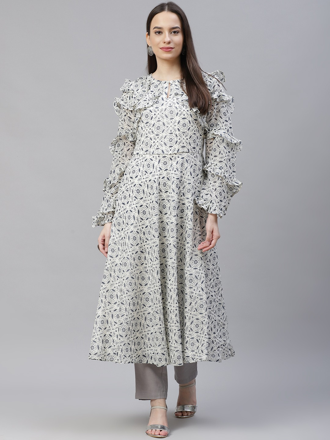 Jompers | Gorgette Print flared kurta with frills on yok and sleeves