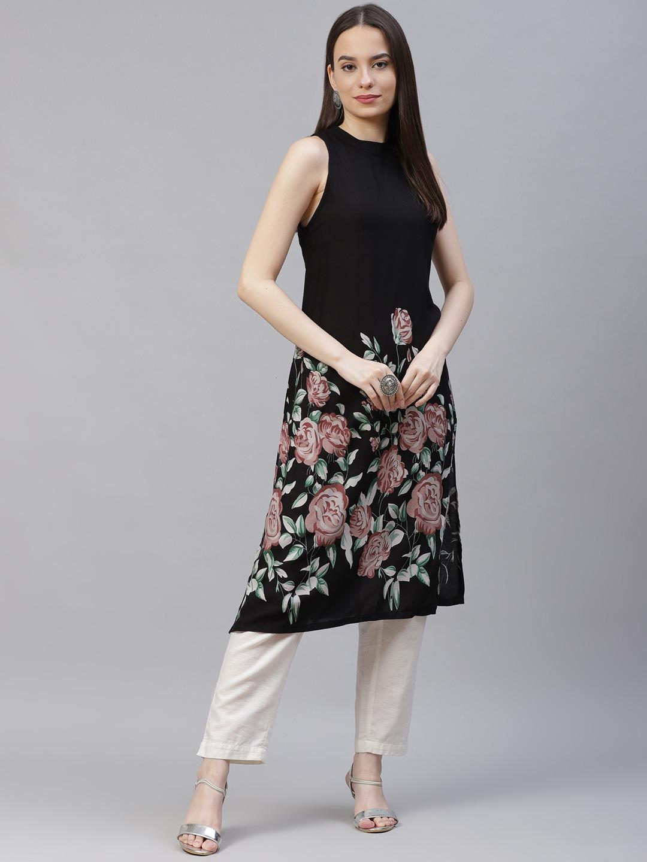 Jompers | Black straight floral Printed Kurta