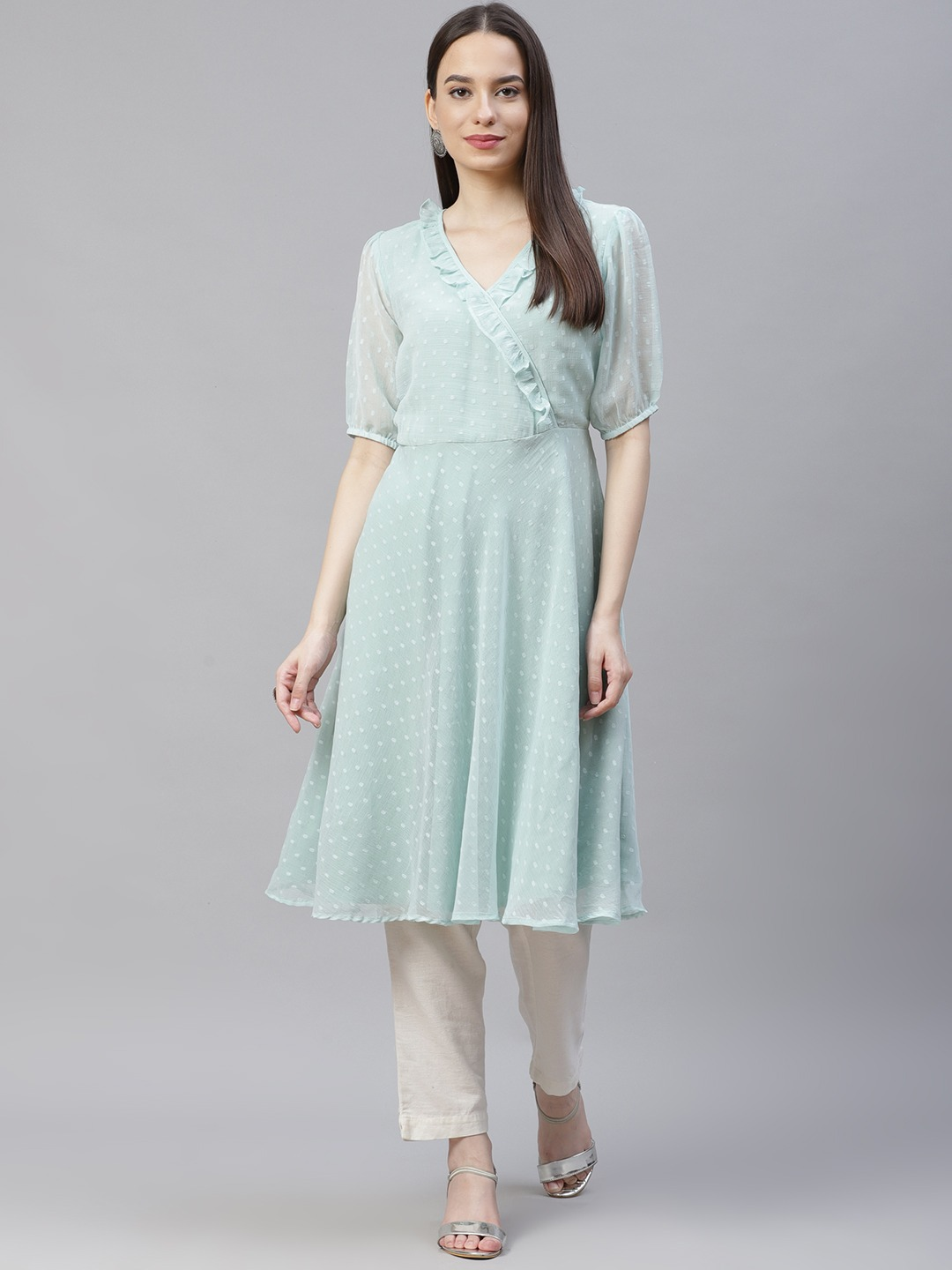 Jompers | Blue flared Woven design Kurta With frills