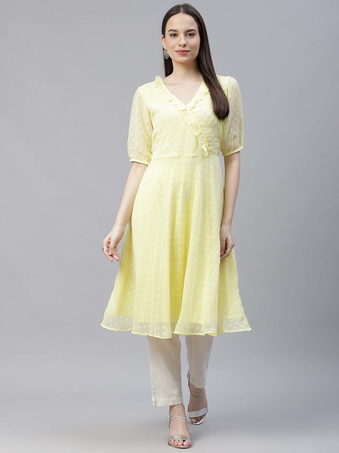 Jompers | Yellow flared Woven design Kurta With frills