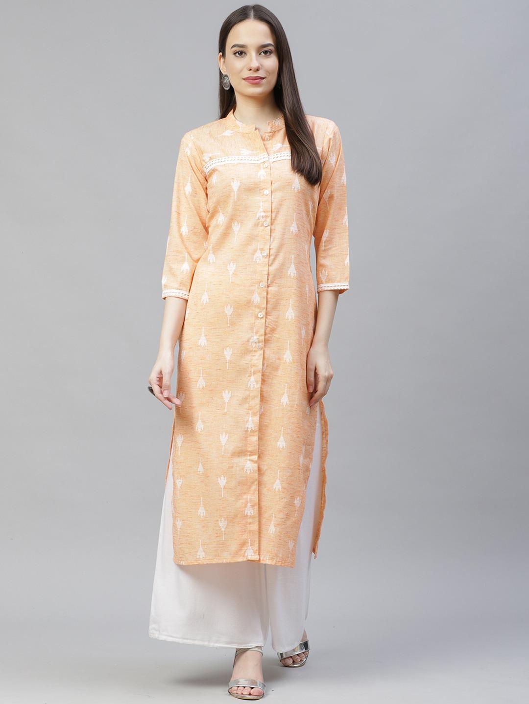 Jompers | Orange Straight Ikat Kurta With lace work