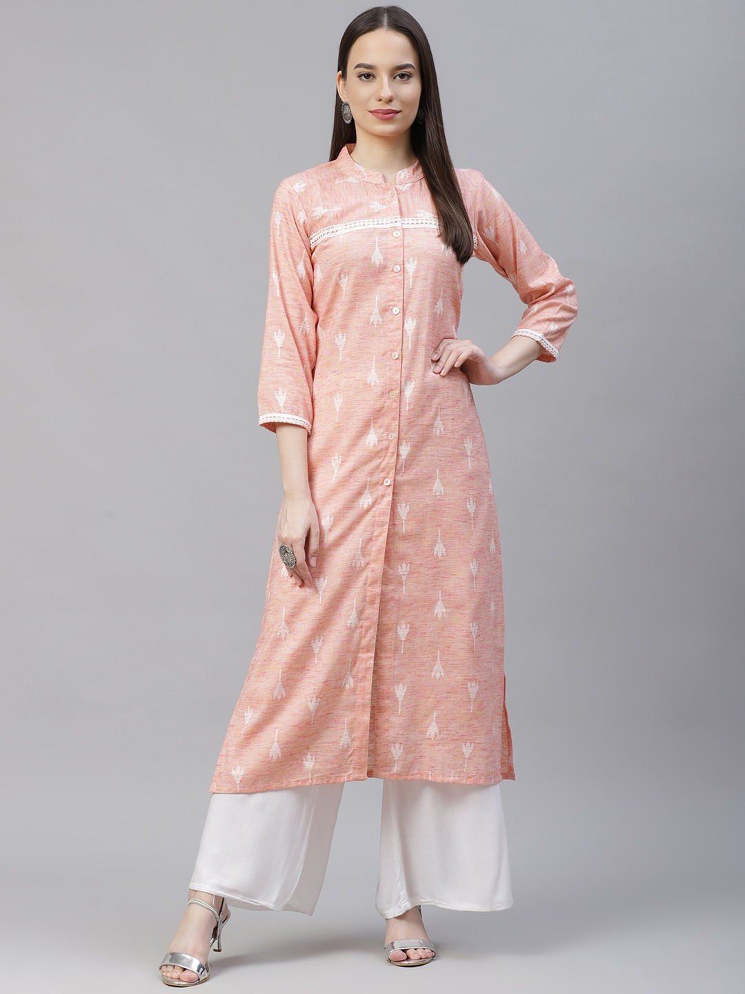 Jompers | Pink Straight Ikat Kurta With lace work