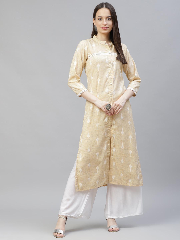 Jompers | Yellow Straight Ikat Kurta With lace work