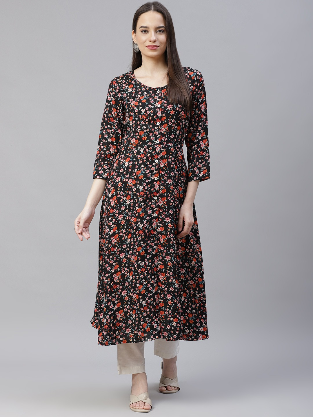 Jompers | Black floral print flaired kurta