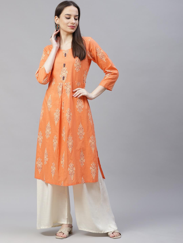 Jompers | Orange block printed kurta with box pleate