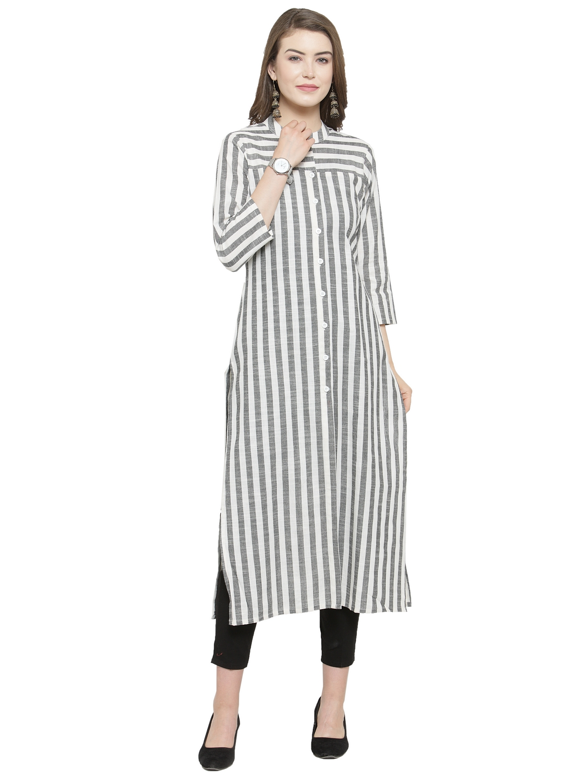 Jompers | Jompers Women Grey & Off-White Striped Straight Kurta