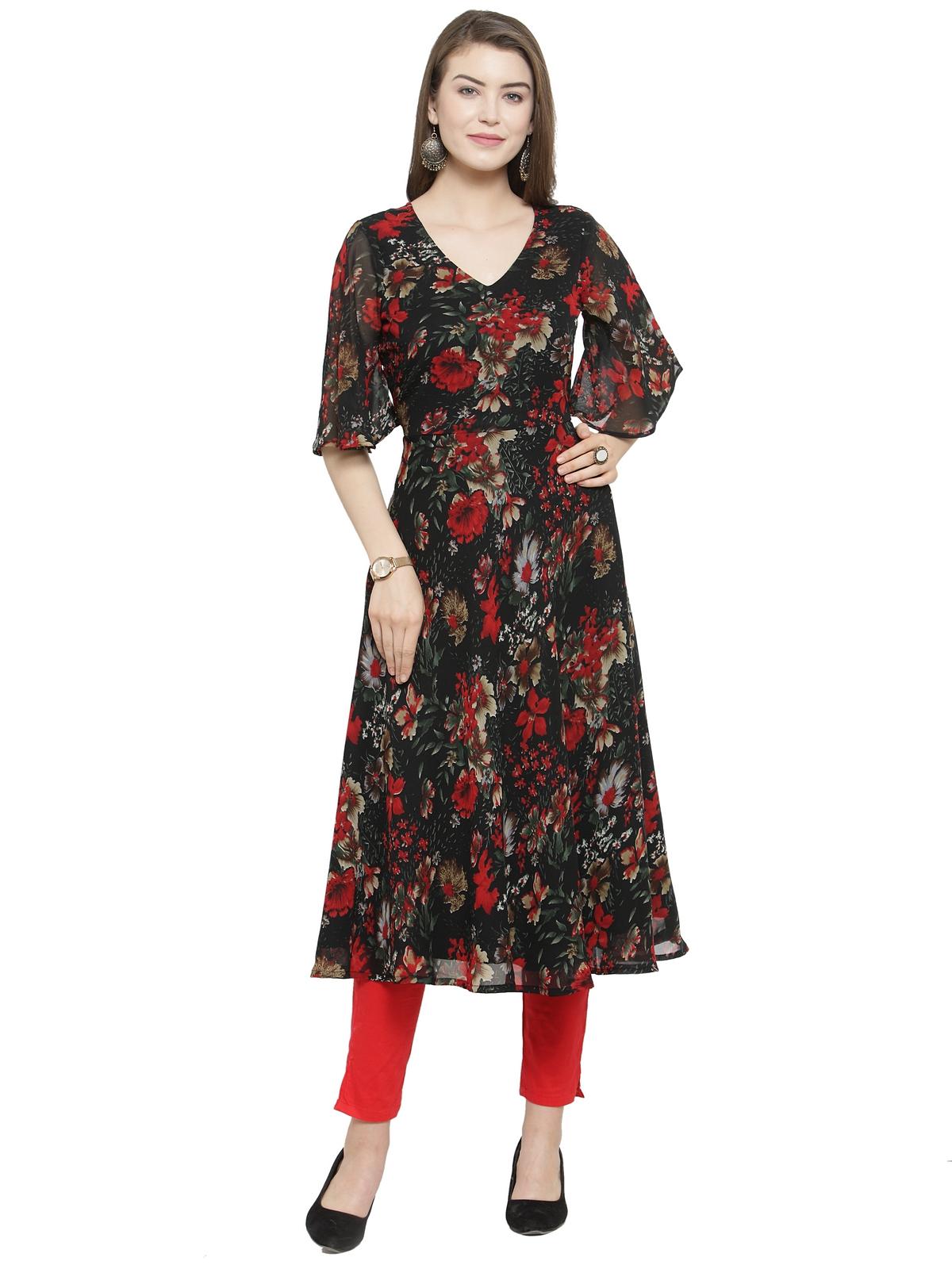 Jompers | Jompers Women Black & Red Floral Print A-Line Kurta
