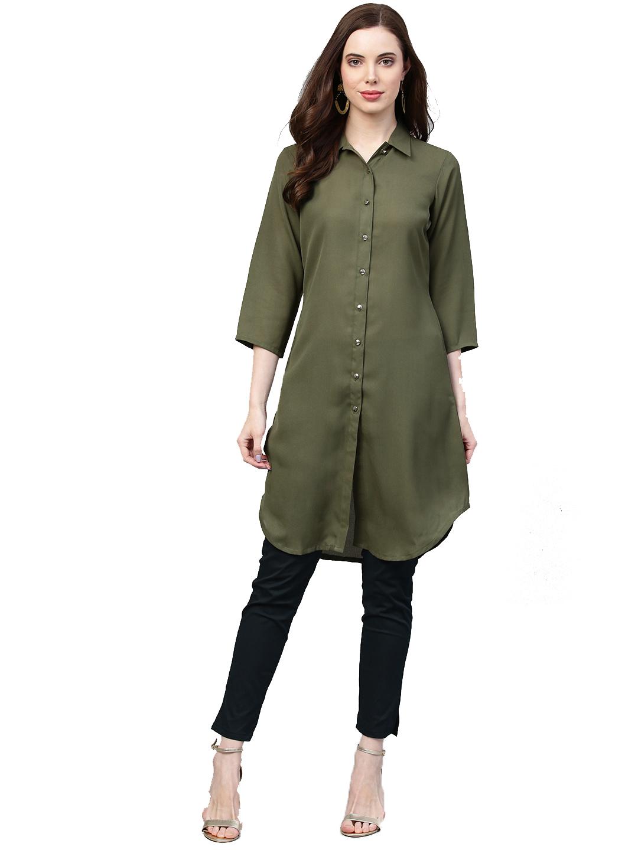 Jompers | Jompers Women Olive Green Solid A-Line Kurta