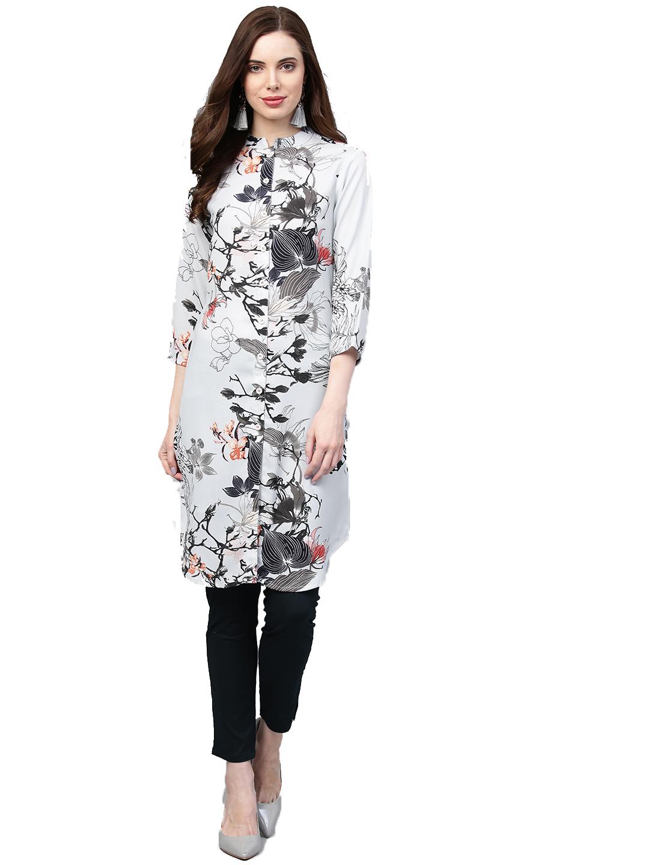 Jompers | Jompers Women Blue & Black Floral Printed Handloom Straight Kurta