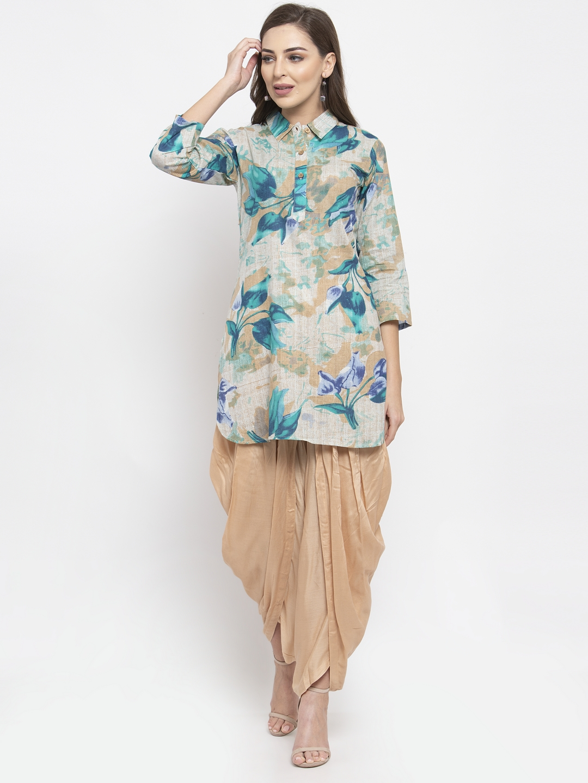 Jompers | JompersWomen Floral Print Pure Cotton Straight Kurta