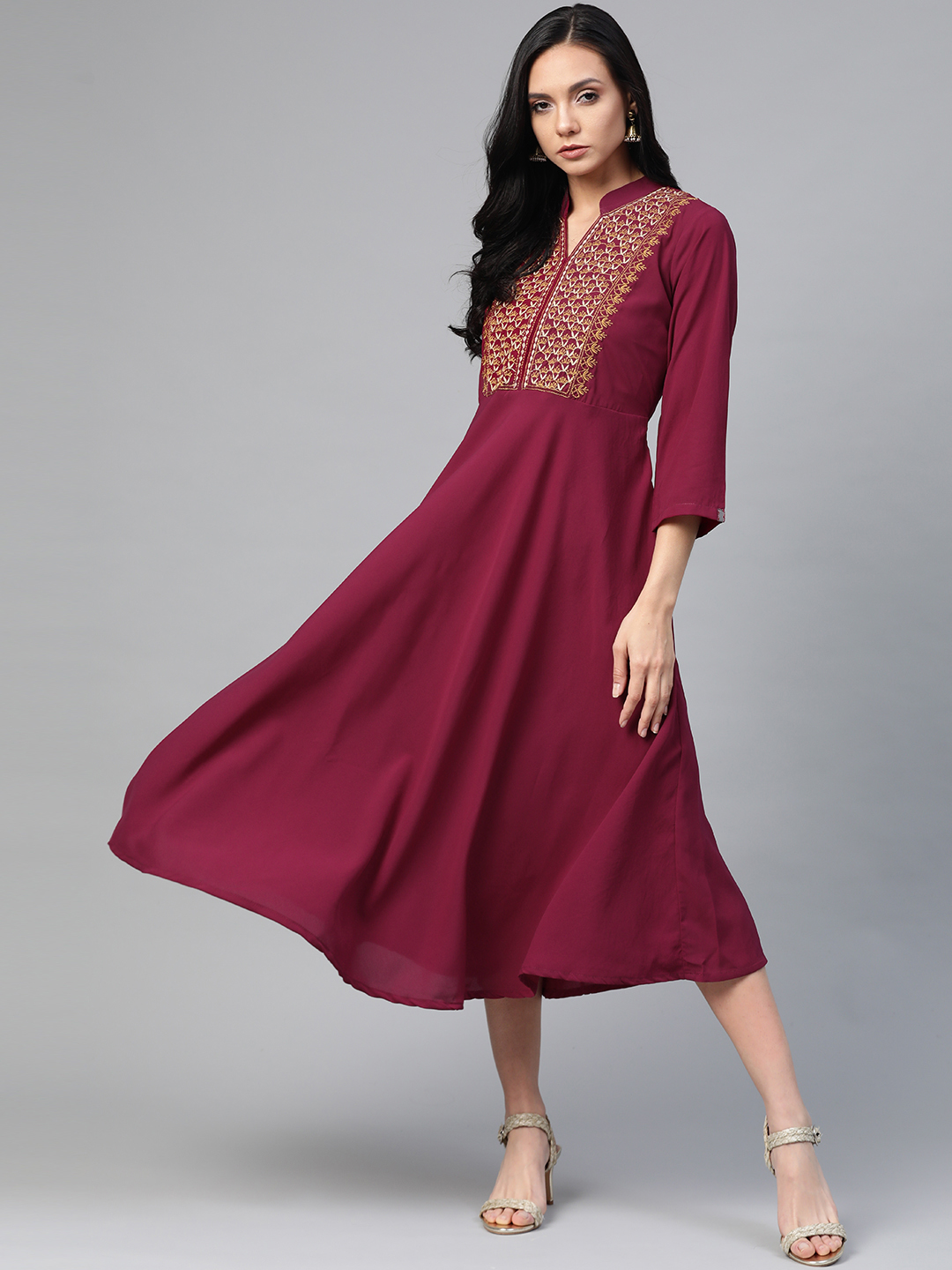 Jompers | Jompers Embroidered Flared Ethnic Dress
