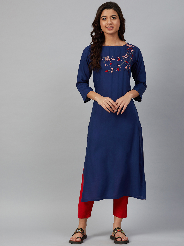 Jompers | Jompers Women Blue & Pink Yoke Design Straight Kurta