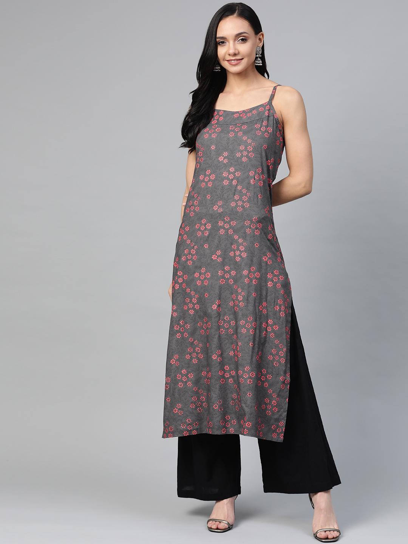 Jompers | Jompers printed rayon shoulder strap kurta
