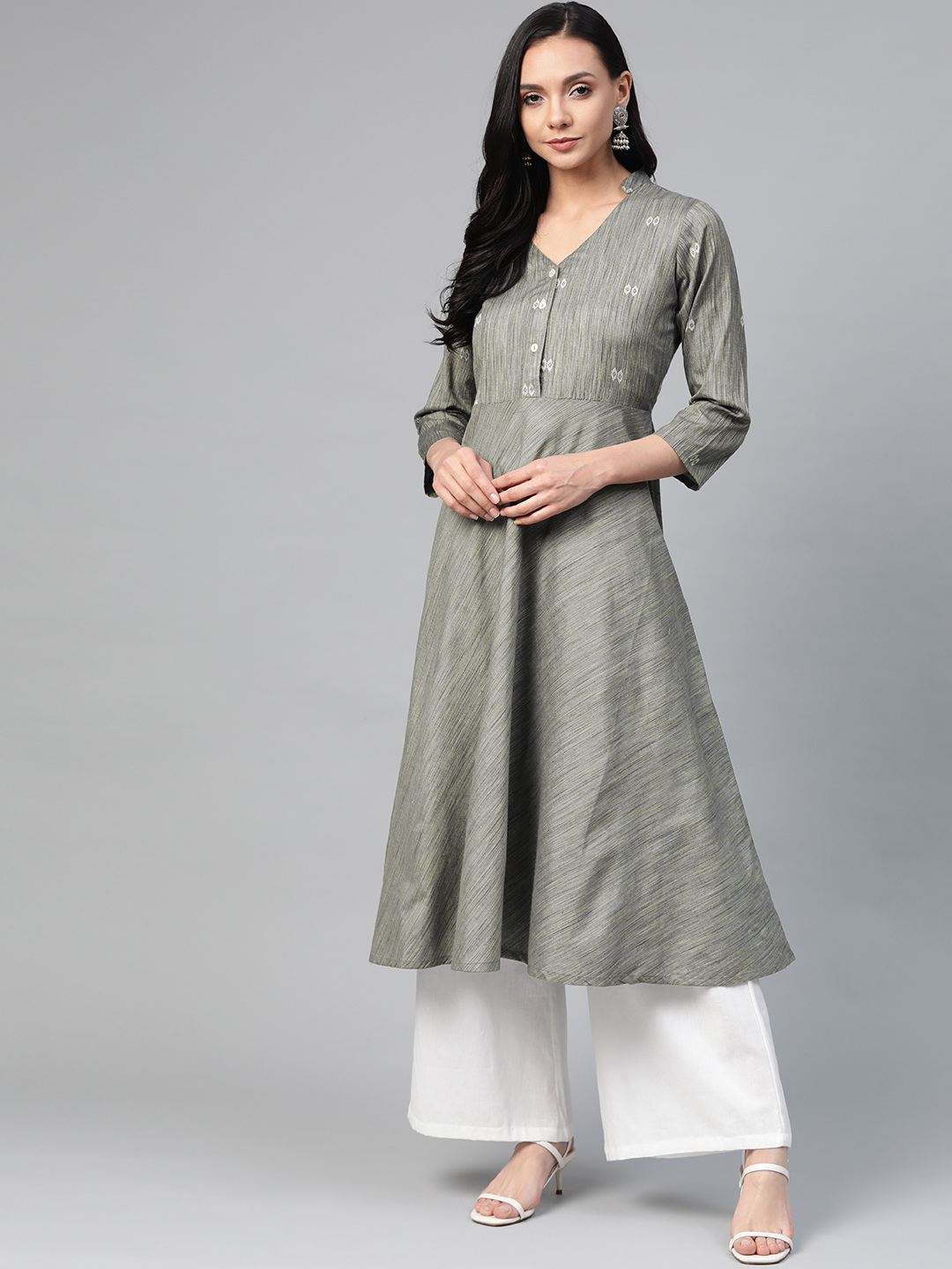 Jompers | Jompers woven design flaired kurta