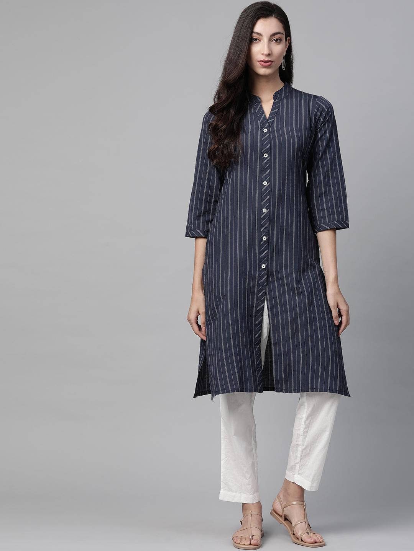 Jompers | Jompers Cotton stripped straight kurta