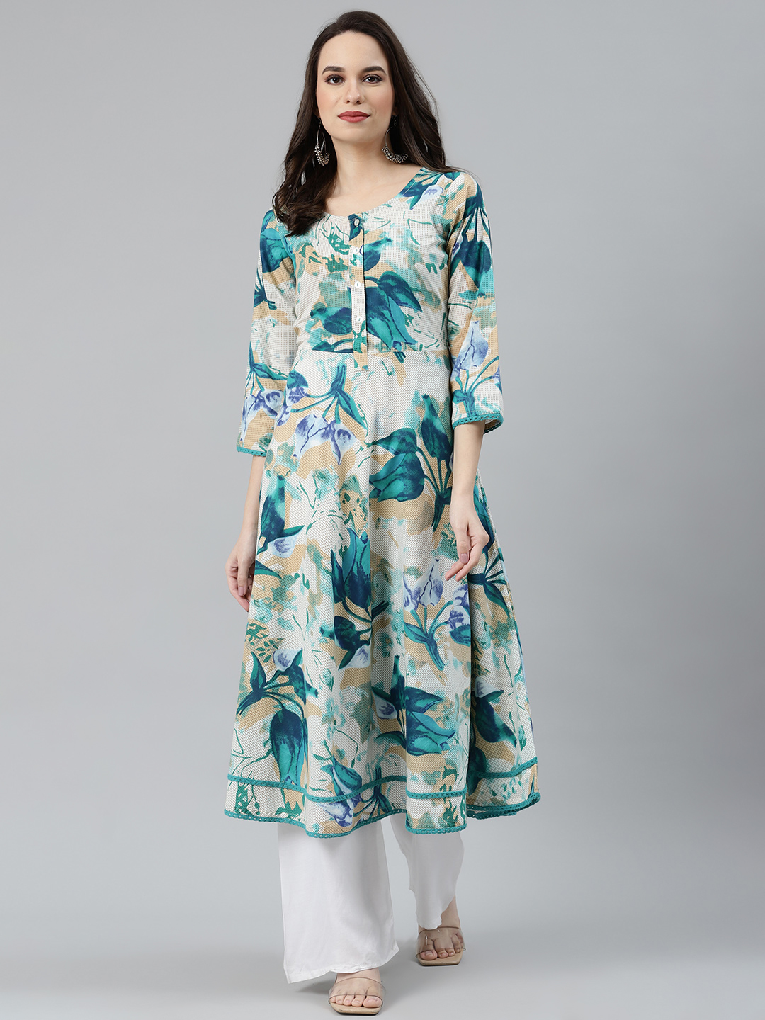 Jompers | Jompers Cotton Print with lace work Flaired Kurta