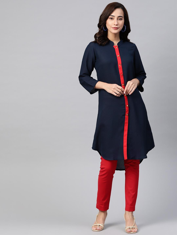 Jompers | Jompers Women Navy Blue & Red Solid A-Line Kurta