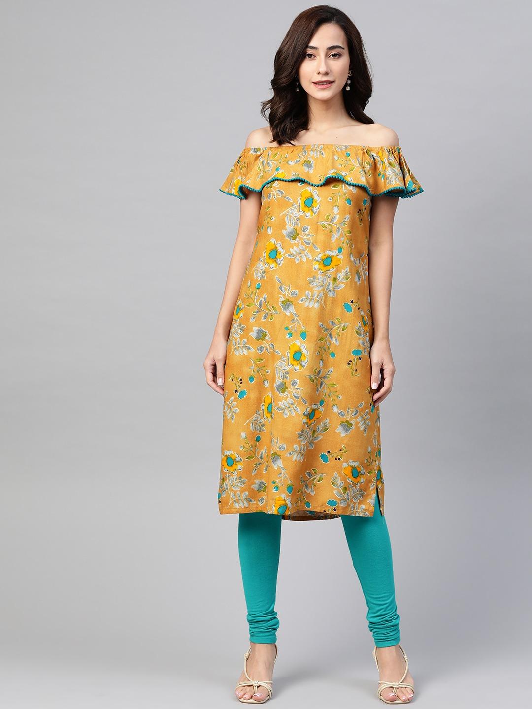 Jompers | Jompers Women Mustard Off-Shoulder Kurta