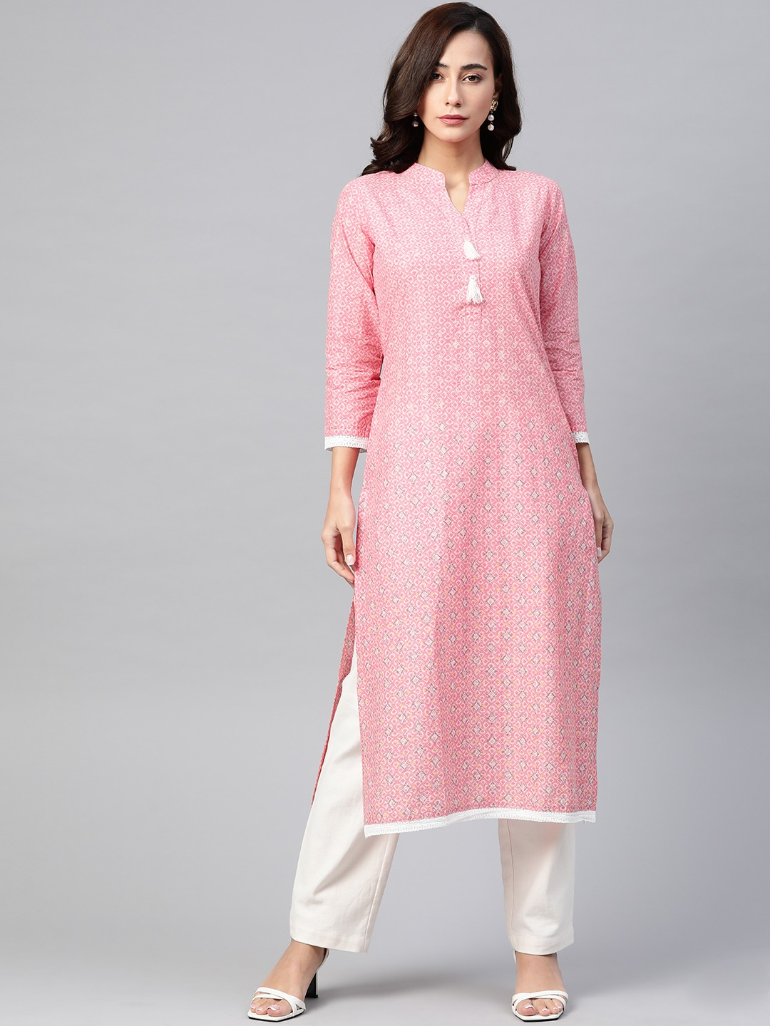 Jompers   Jompers Women Cotton Kurta with Lace at border