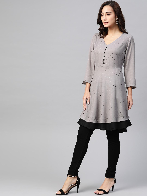Jompers | Jompers Women Grey polka dots print flared kurta