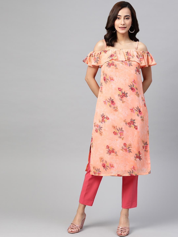 Jompers | Jompers Women Floral Print Off-shoulder Gorgette Kurta