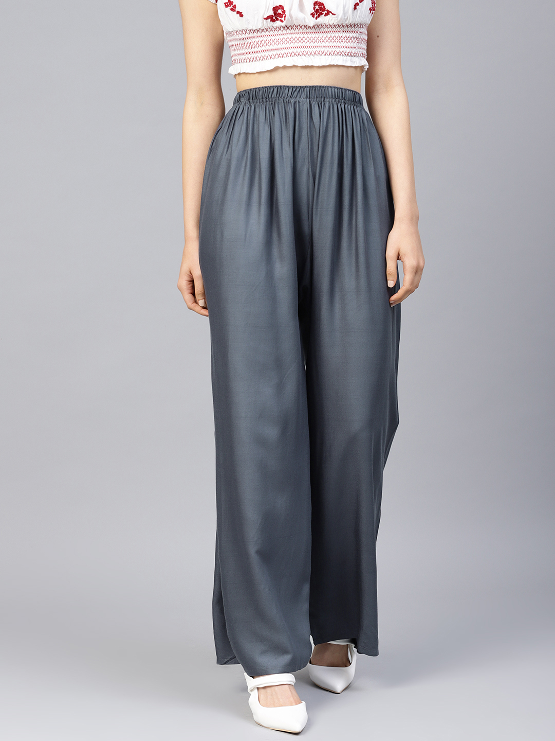 Jompers | Jompers Women Grey Solid Straight Palazzos