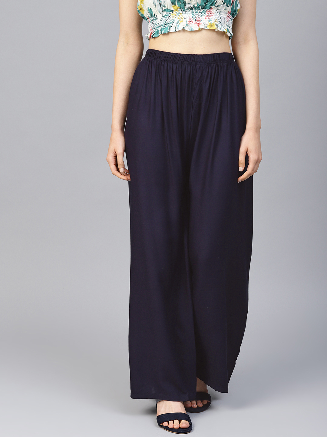 Jompers | Jompers Women Navy Blue Solid Straight Palazzos