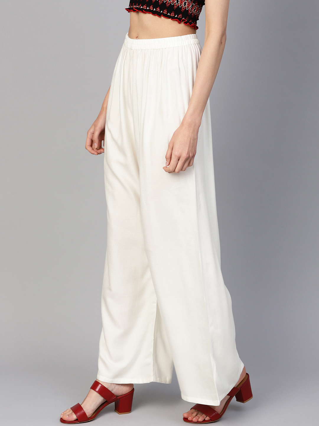 Jompers | Jompers Women Off-White Solid Straight Palazzos