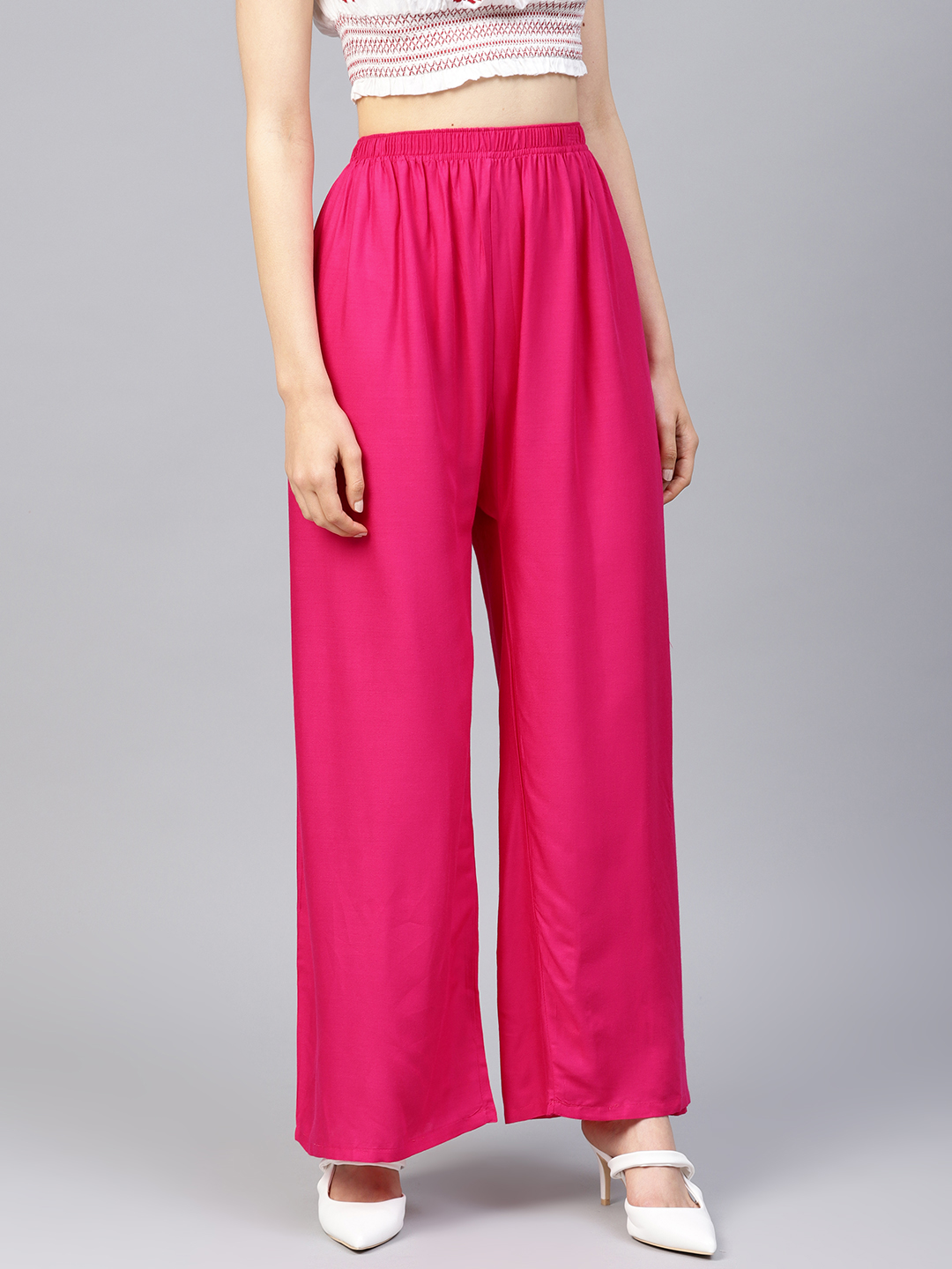 Jompers | Jompers Women Pink Solid Straight Palazzos