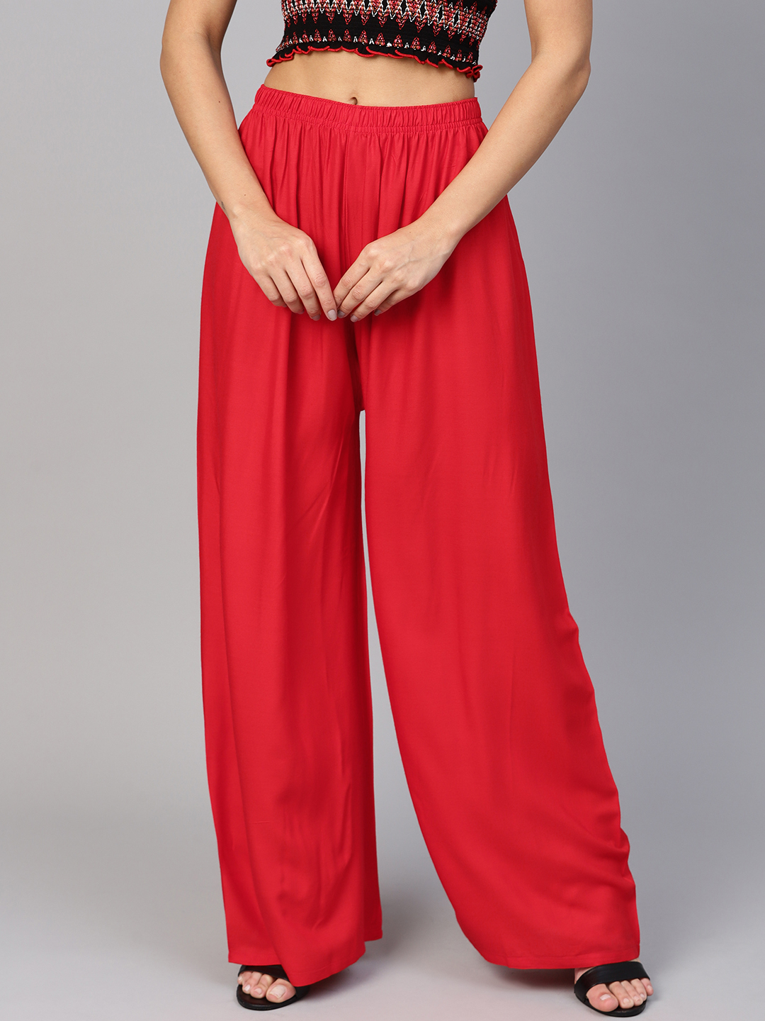 Jompers | Jompers Women Red Solid Straight Palazzos