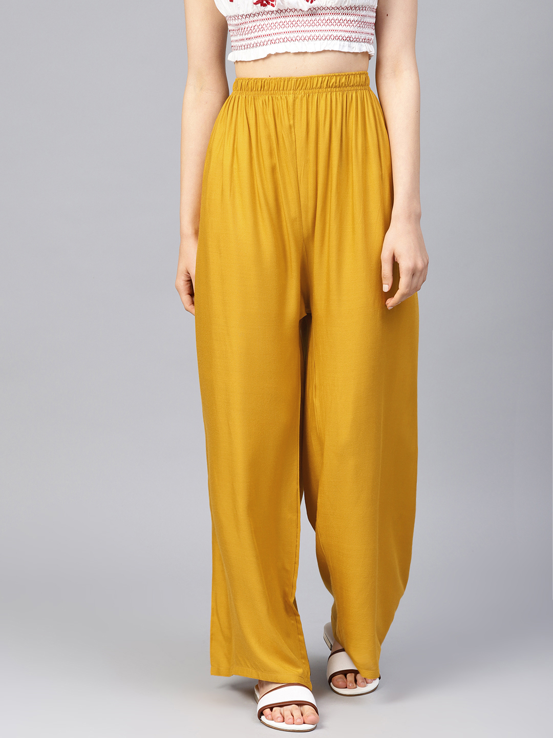 Jompers | Jompers Women Mustard Solid Straight Palazzos
