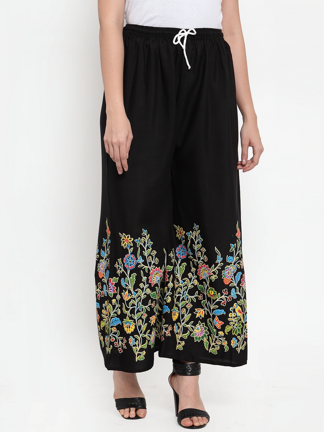 Jompers | Jompers Women Black & Floral Printed Wide Leg Palazzos