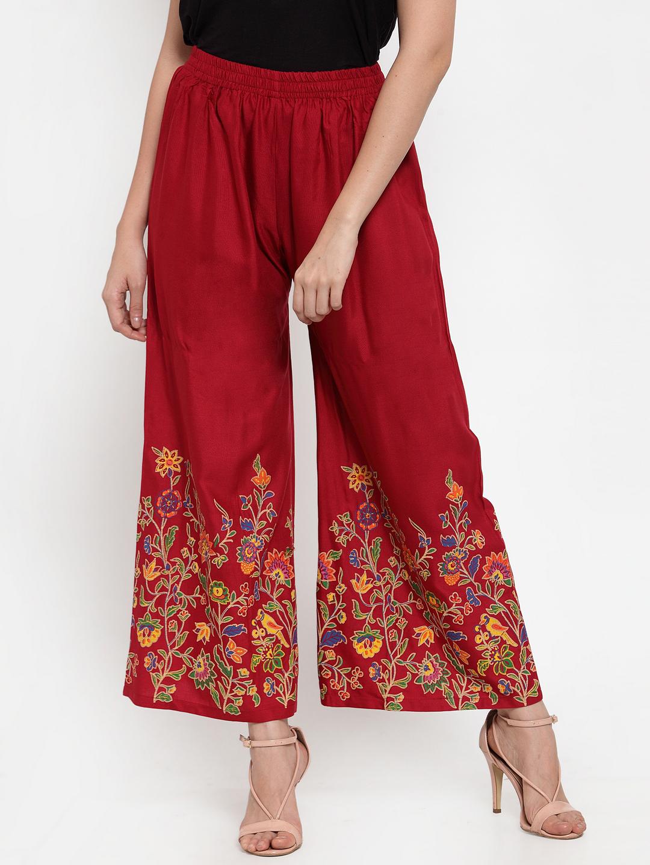 Jompers   Jompers Women Maroon & Floral Printed Wide Leg Palazzos