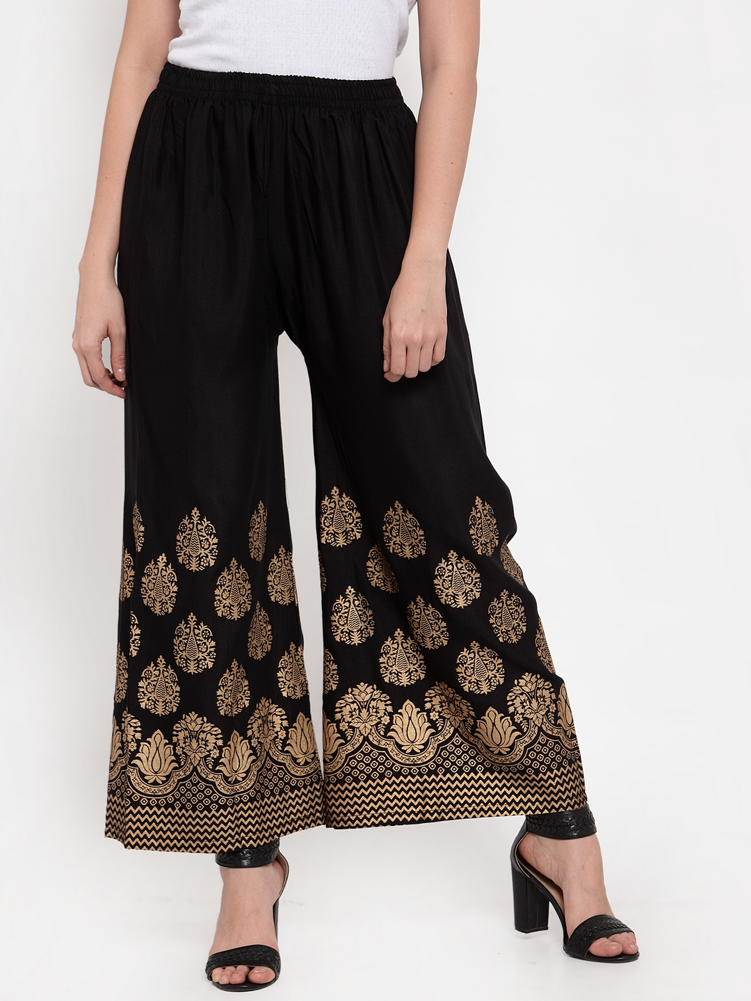 Jompers | Jompers Women Black & Gold-Toned Printed Wide Leg Palazzos