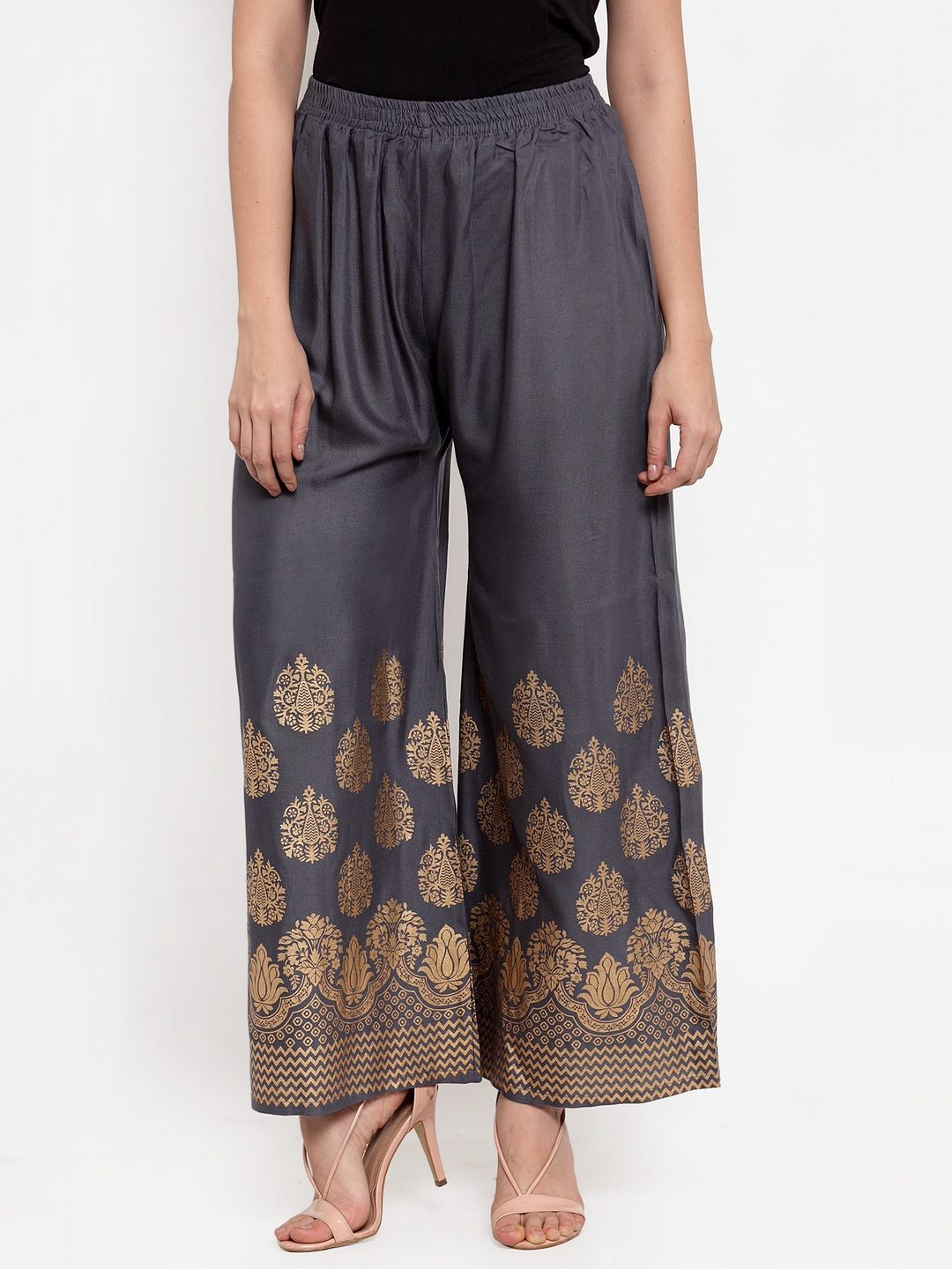 Jompers | Jompers Women Grey & Gold-Toned Printed Wide Leg Palazzos