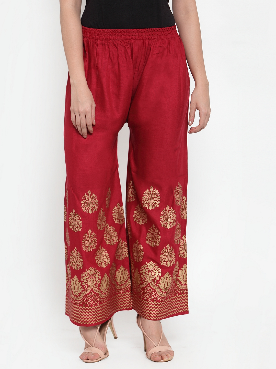 Jompers | Jompers Women Maroon & Gold-Toned Printed Wide Leg Palazzos