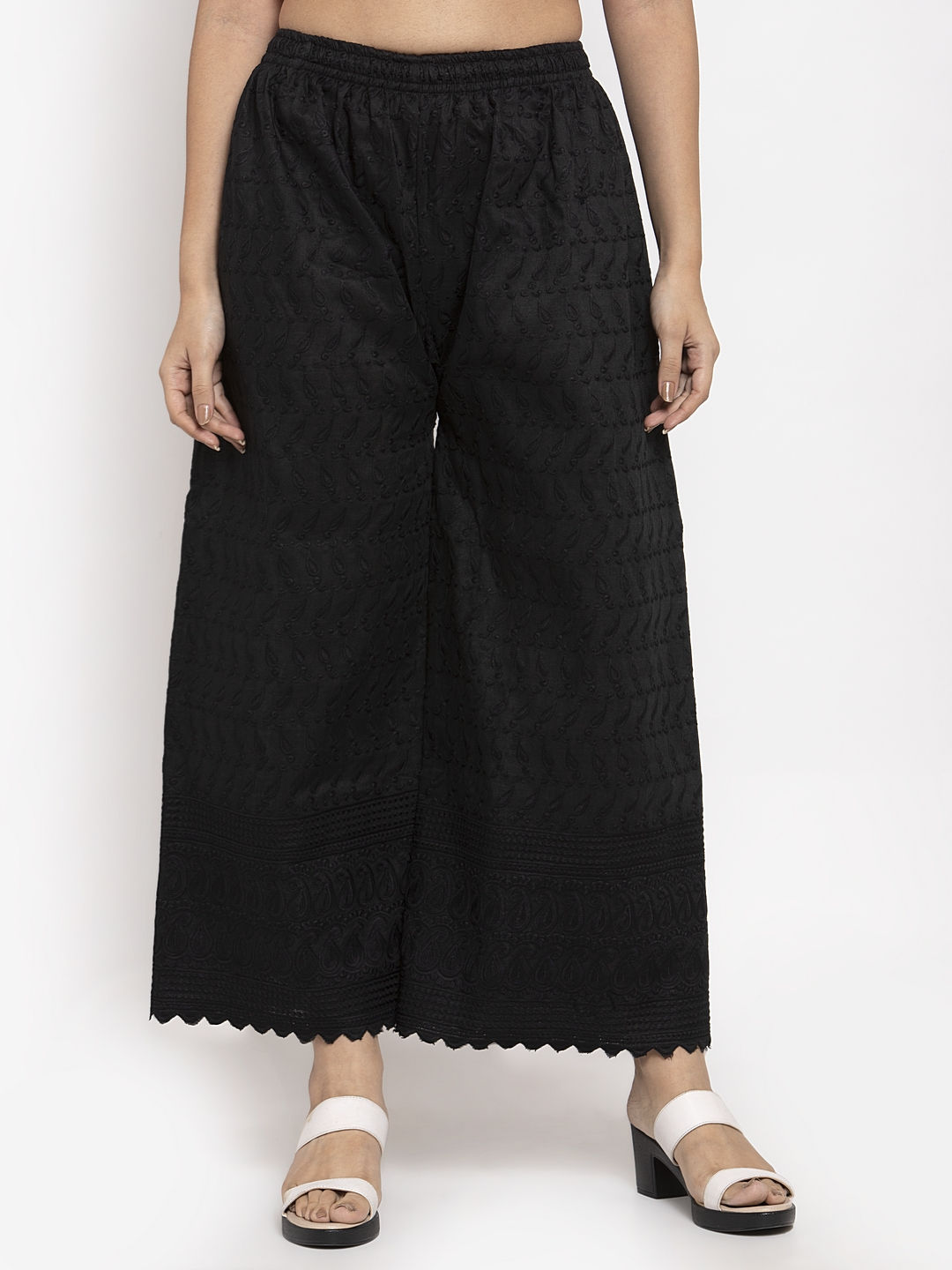 Jompers | Jompers Women Black Embroidered Wide Leg Palazzos