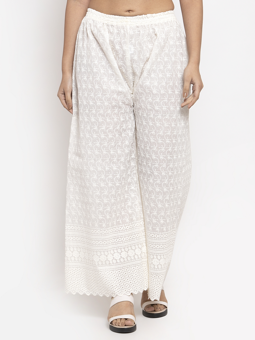 Jompers | Jompers Women White Embroidered Wide Leg Palazzos