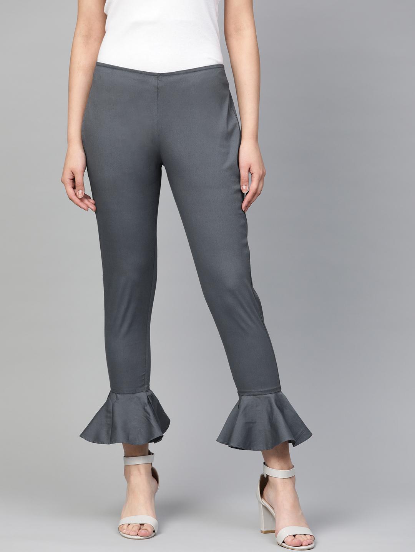 Jompers   Jompers Women Charcoal Grey Smart Slim Fit Solid Regular Trousers