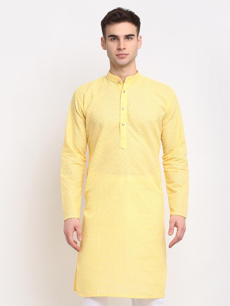 Jompers | Jompers® Men Yellow & White Self Design Kurta